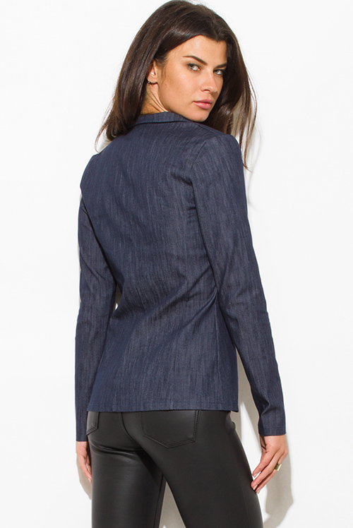 Cute cheap navy denim blue long sleeve single button fitted jacket suiting blazer top