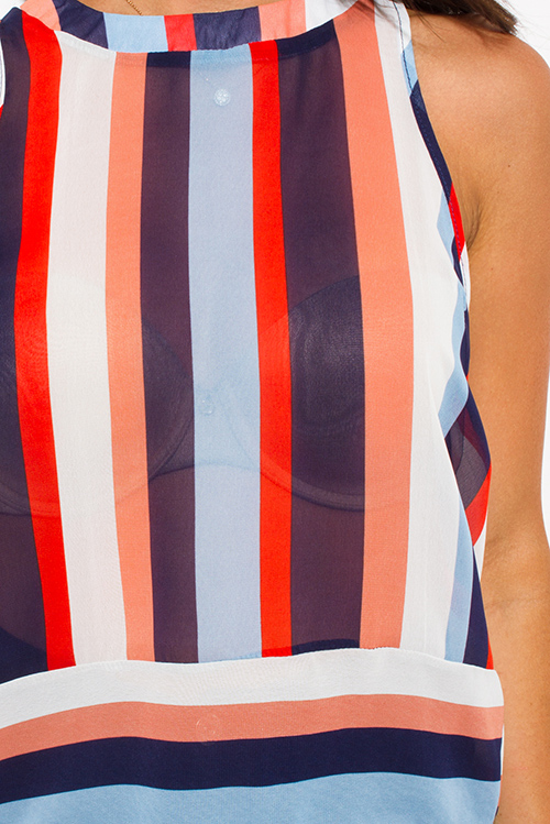 Cute cheap navy red stripe sheer chiffon sleeveless blouse top