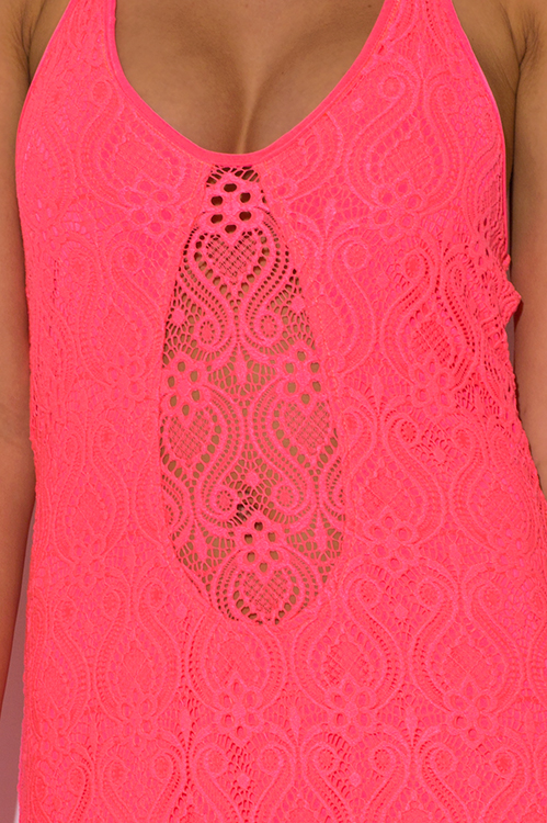Cute cheap neon coral baroque crochet lace halter v neck formal summer evening party maxi dress