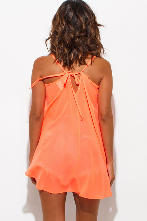Cute cheap neon orange sheer chiffon high low spaghetti strap cut out back tank top