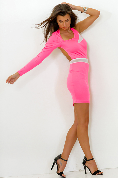 Cute cheap neon pink backless long sleeve mesh inset fitted bodycon club mini dress