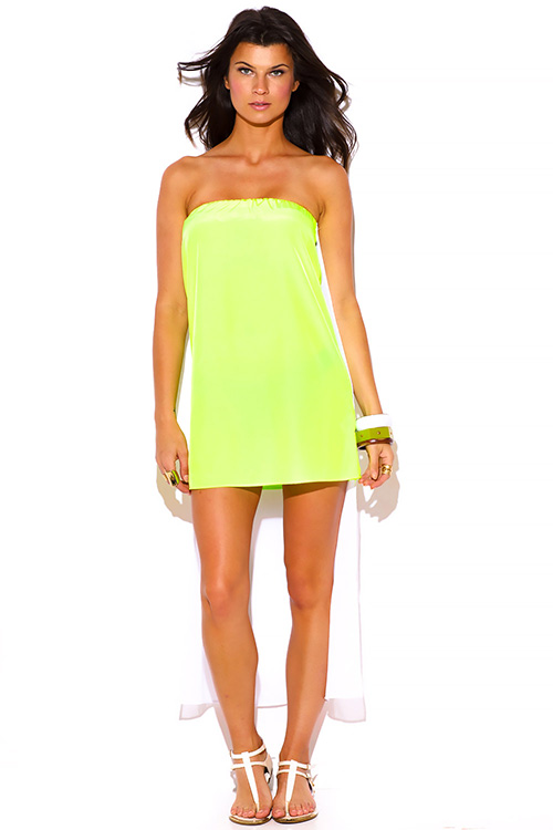Cute cheap neon yellow green chiffon cape high low strapless mini sun dress