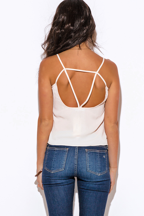Cute cheap nude beige caged cut out back tank top