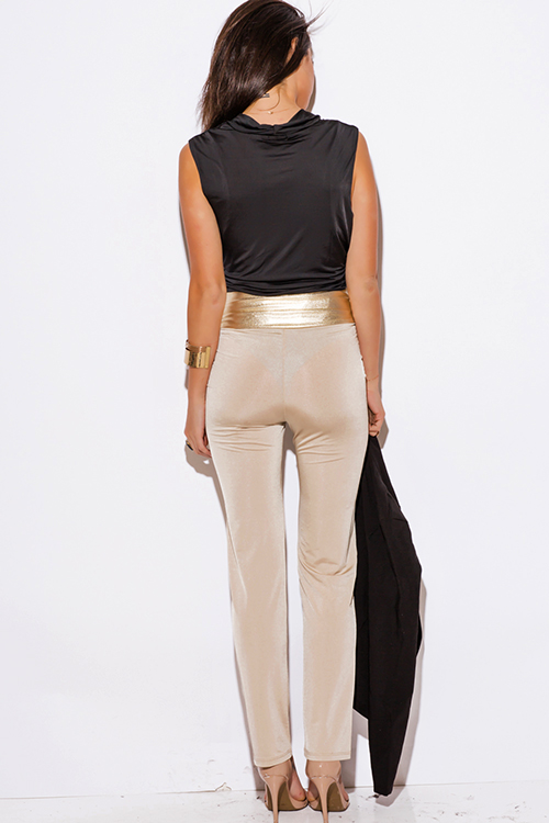 Cute cheap nude beige gold faux leather trim high waisted straight leg pants