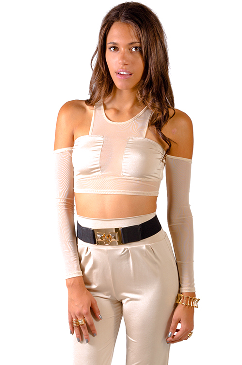 Cute cheap nude beige mesh inset cut out cold shoulder clubbing crop top