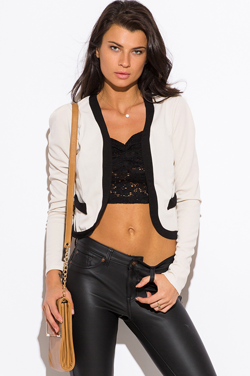 Cute cheap oatmeal beige color block open blazer jacket top