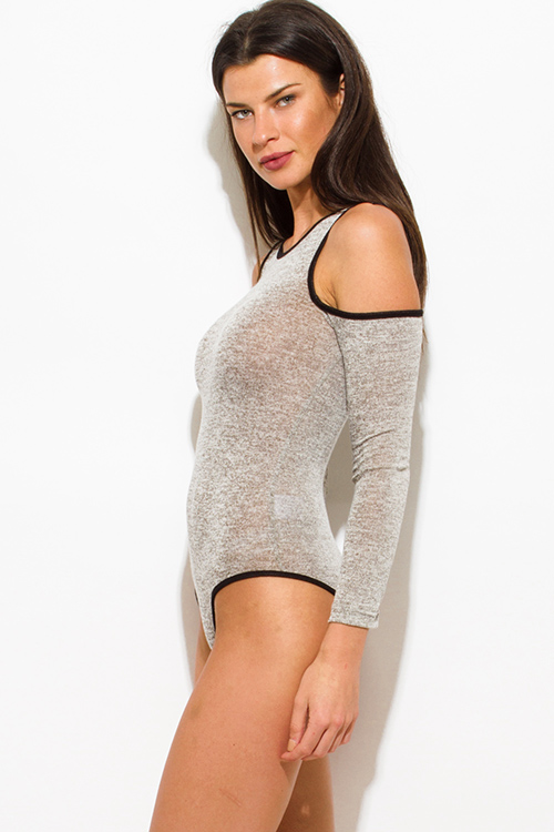 Cute cheap oatmeal gray cotton blend black trim cold shoulder long sleeve bodycon fitted bodysuit top