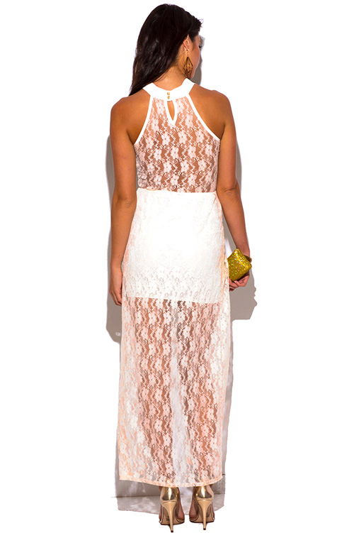 Cute cheap off white gold lace high low slit fitted formal evening party cocktail dress