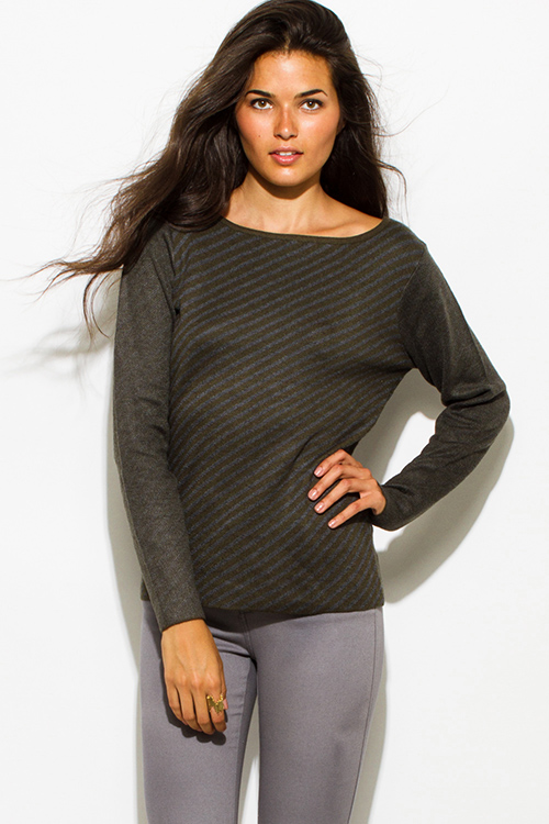 Cute cheap olive green charcoal gray fuzzy striped boat neck long sleeve sweater knit top