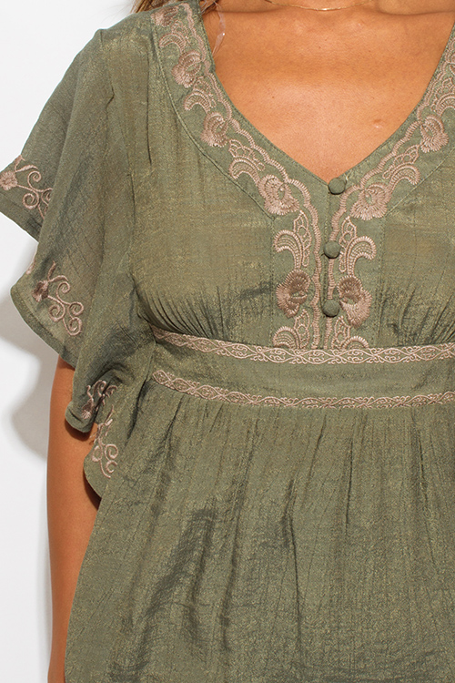 a4e1bb29b29 Cute cheap olive green cotton gauze embroidered butterfly sleeve empire  waist boho peasant top