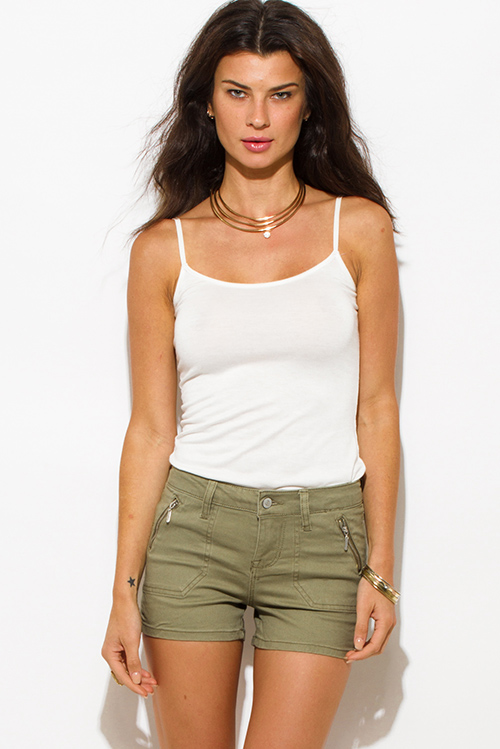 Cute cheap olive green cotton military zipper pocket mid rise shorts