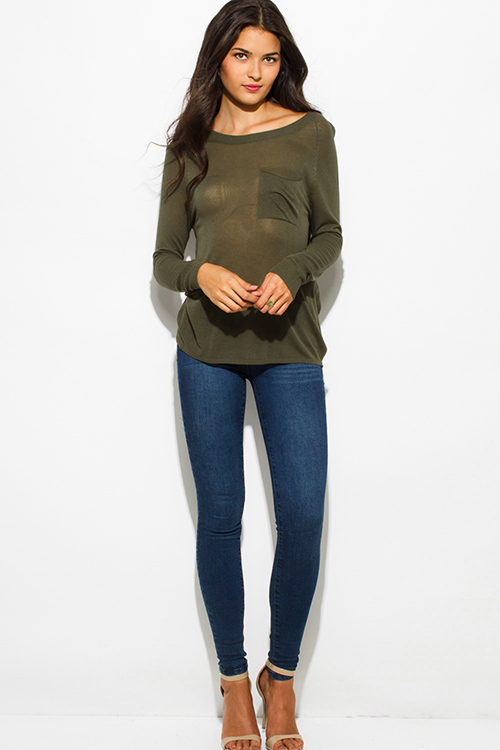 Cute cheap olive green front pocket long sleeve sweater knit top