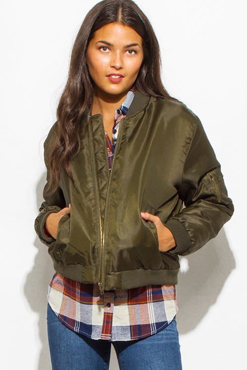Cute cheap olive green military long sleeve zip up pocketed puff bomber jacket