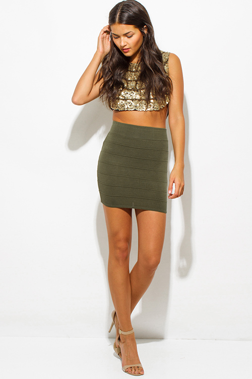 Cute cheap olive green ribbed knit bandage bodycon fitted club mini skirt
