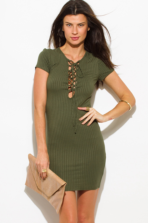 Cute cheap olive green ribbed knit lace up short sleeve bodycon fitted club mini dress