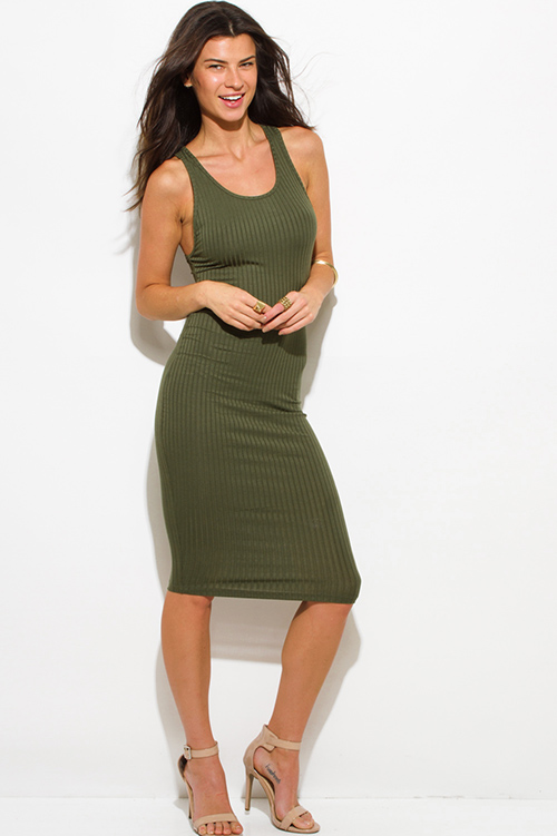 Cute cheap olive green ribbed knit sleeveless scoop neck racer back bodycon fitted club midi dress