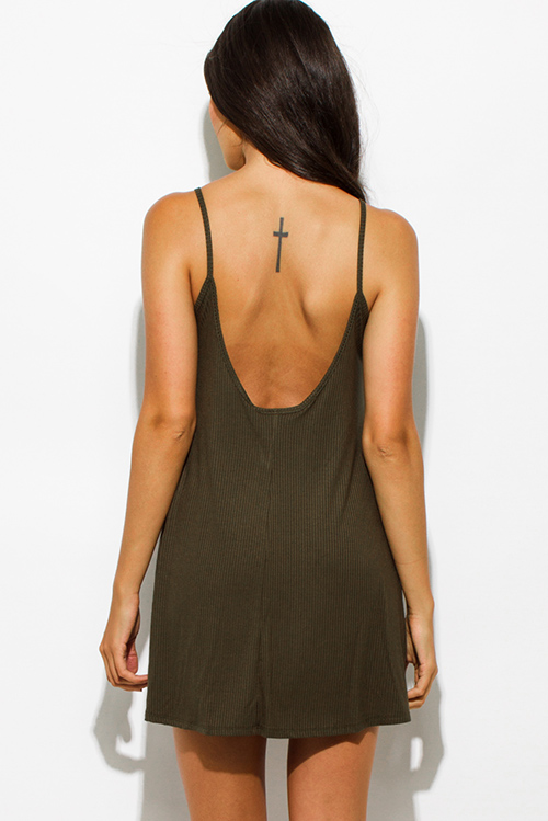 Cute cheap olive green ribbed spaghetti strap backless party mini dress
