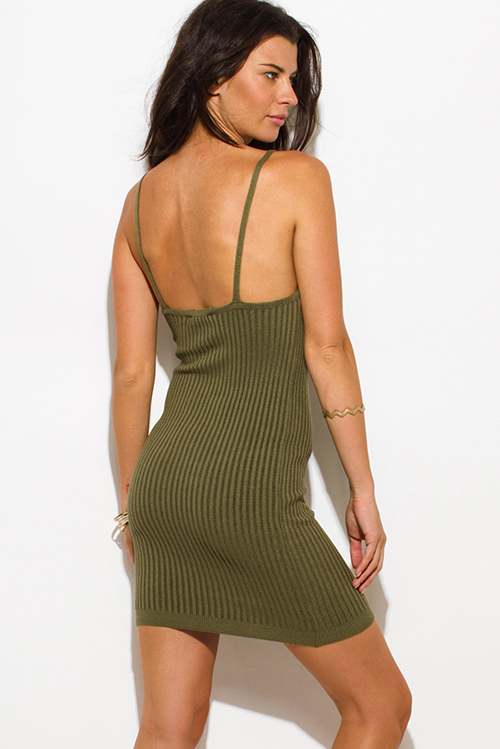 Cute cheap olive green ribbed knit thin strap v neck open back fitted bodycon sweater midi dress