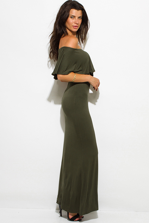 Cute cheap olive green rayon jersey ruffle off shoulder tiered formal evening maxi sun dress