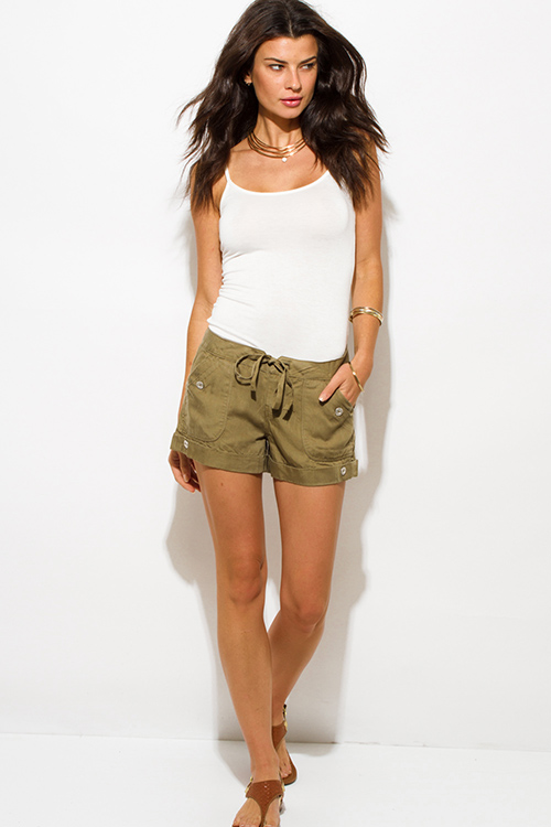 Cute cheap olive green tencel pocketed buttoned waist tie lounge cargo shorts