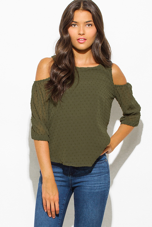 Cute cheap olive green textured chiffon cold shoulder quarter sleeve keyhole back boho blouse top