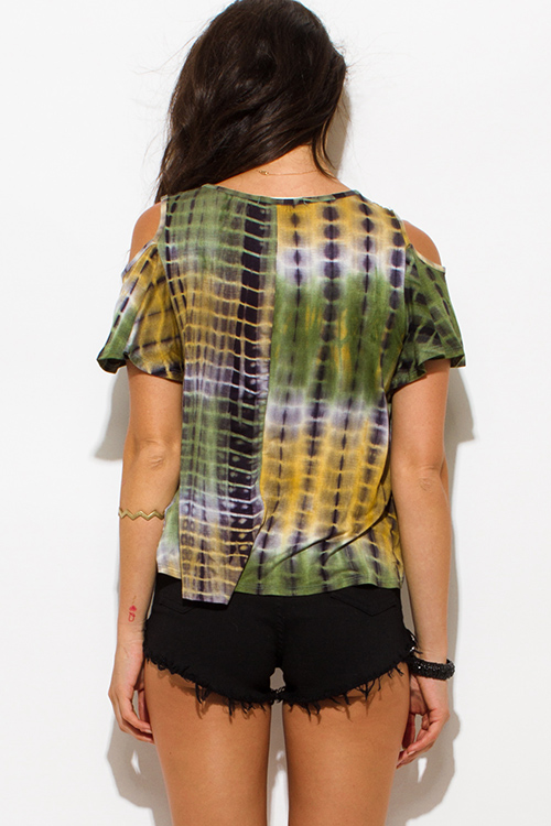 Cute cheap olive green tie dye print cold shoulder cut out boho top