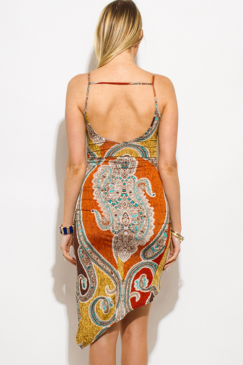Cute cheap orange multicolor ethnic paisley print deep v neck ruched caged back fitted club midi dress