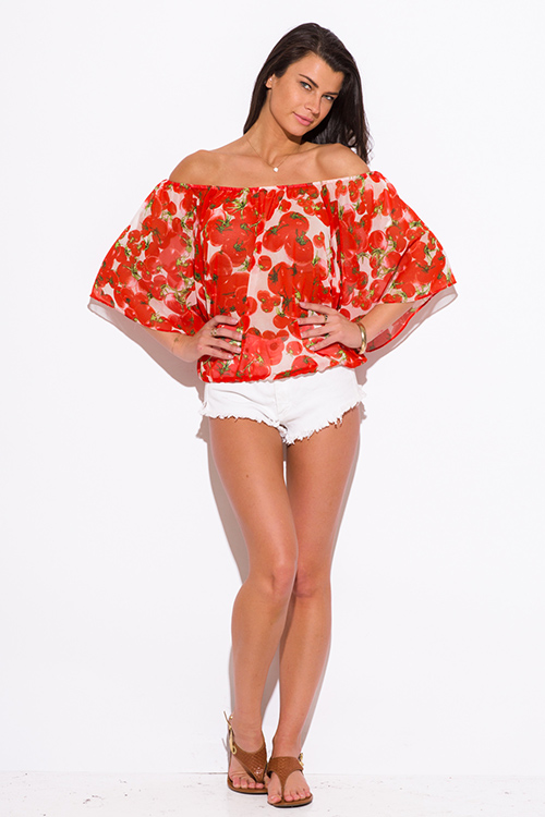 Cute cheap orange red tomato print chiffon flutter sleeve off shoulder boho top
