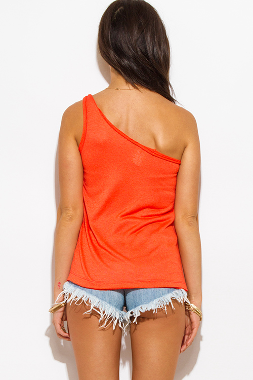Cute cheap orange twist strap one shoulder tank top