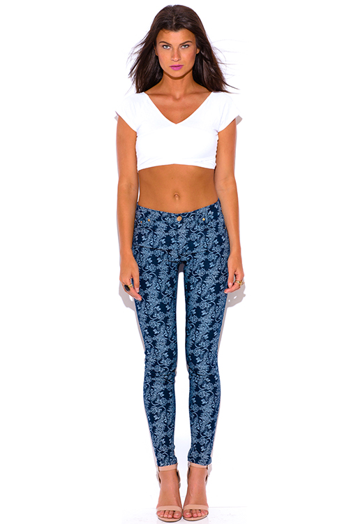 Cute cheap paisley print navy blue denim mid rise fitted skinny jeans