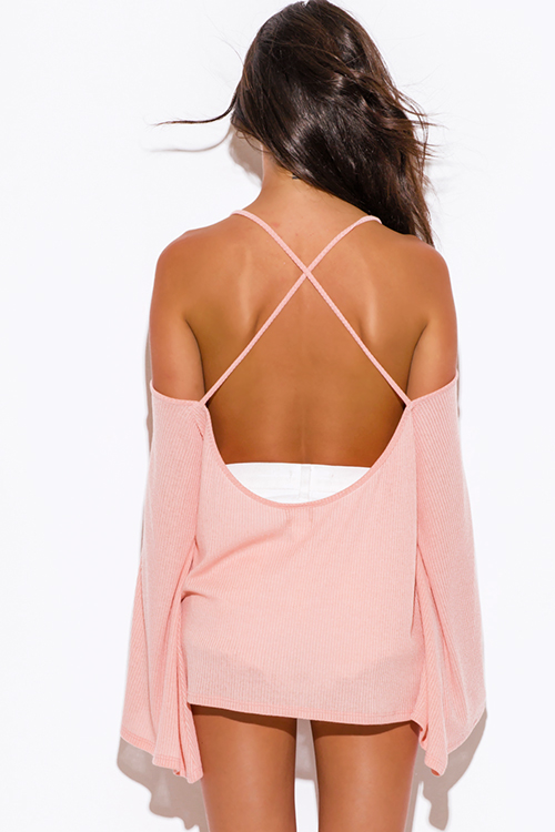 Cute cheap pastel peach pink ribbed knit off shoulder backless kimono sleeve sweater boho tunic top