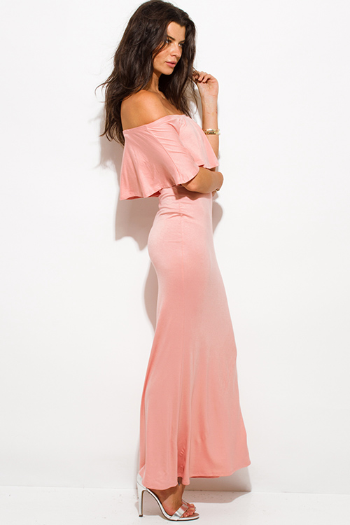 Cute cheap pastel pink rayon jersey ruffle off shoulder tiered formal evening maxi sun dress