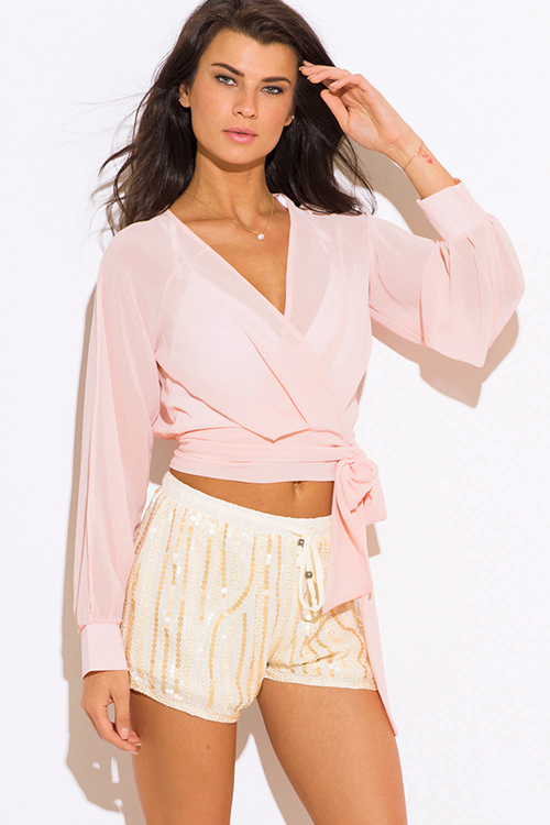 Cute cheap peach pink chiffon slit blouson sleeve wrap front crop blouse top