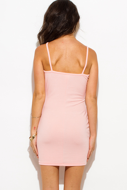 Cute cheap peach pink color block deep v neck spaghetti strap crochet lace trim open back bodycon fitted club mini dress