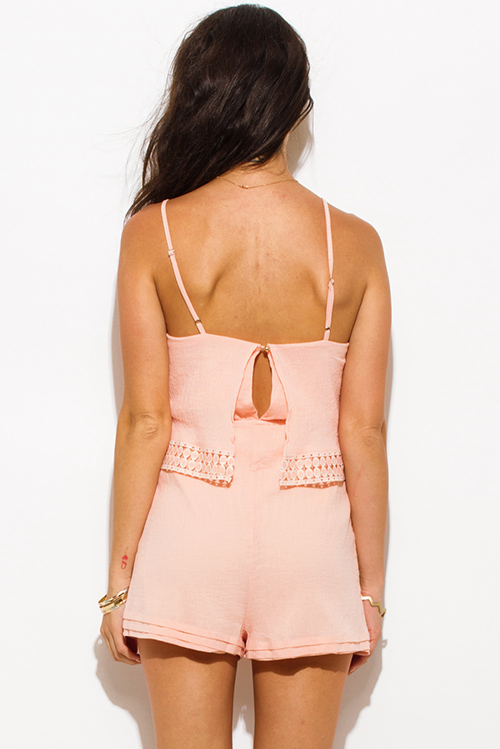 Cute cheap peach pink cotton gauze crochet trim spaghetti strap keyhole back boho resort romper jumpsuit