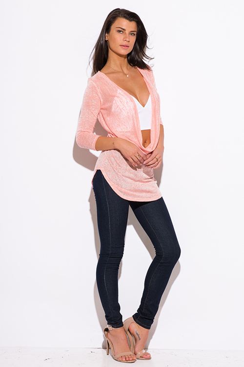 Cute cheap peach pink draped low cowl neck quarter sleeve knit tunic top