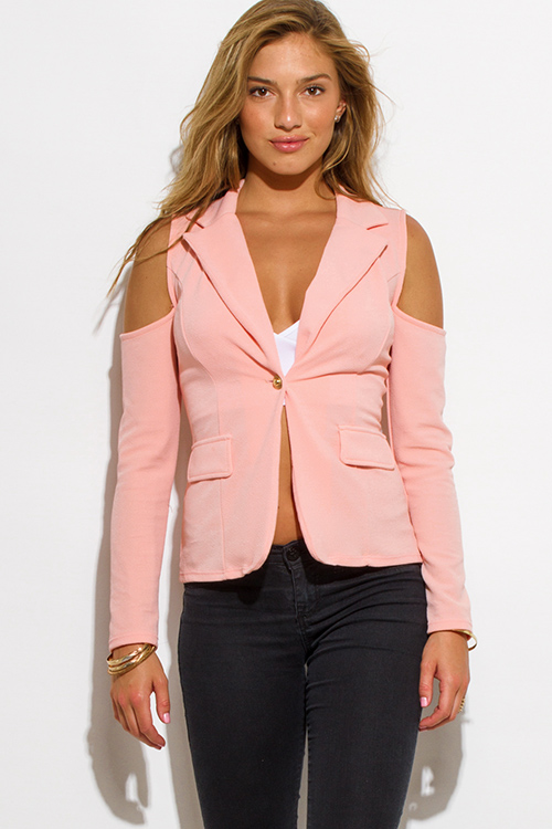 Cute cheap peach pink golden button long sleeve cold shoulder cut out blazer jacket