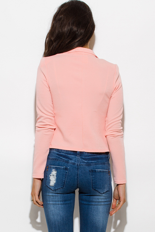 Cute cheap peach pink golden button military style open blazer jacket