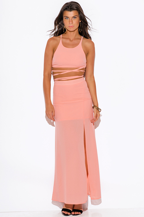Cute cheap peach pink high slit crepe evening cocktail party maxi two piece set dress
