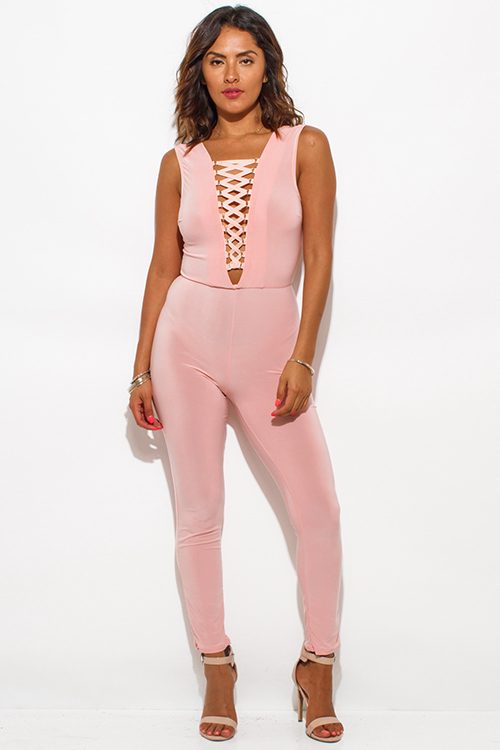 Cute cheap peach pink laceup caged front fitted bodycon clubbing catsuit jumpsuit