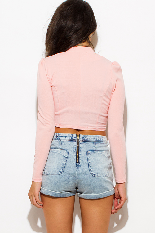 Cute cheap peach pink mandarin collar long sleeve zip up fitted jacket crop top