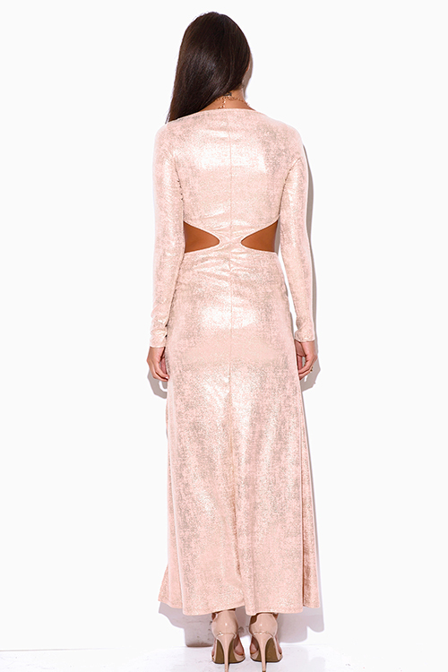 Cute cheap peach pink metallic long sleeve double slit cut out formal evening cocktail party maxi dress