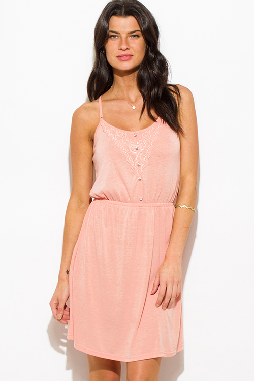 Cute cheap peach pink spaghetti strap lace contrast racer back boho mini sun dress