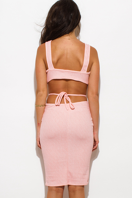 Cute cheap peach pink striped textured low v neck sleeveless cut out bodycon clubbing midi dress