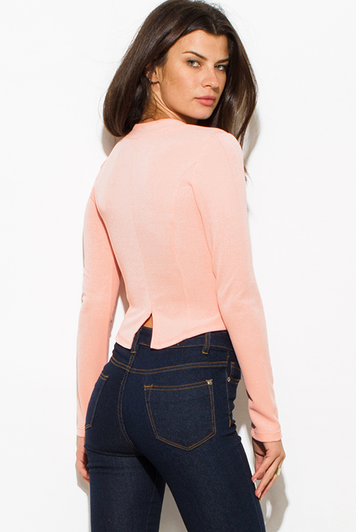 Cute cheap peach pink textured long sleeve asymmetrical hem zip up fitted jacket top