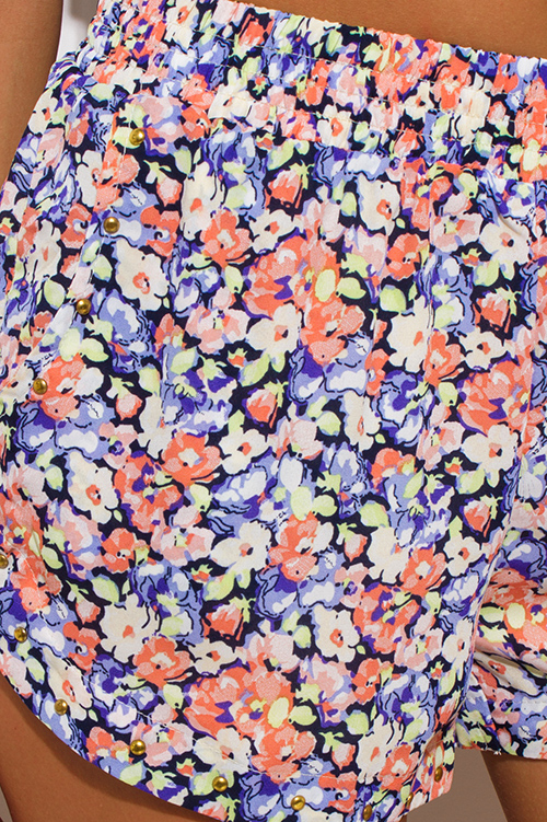 Cute cheap peach purple multicolor floral print studded boho summer shorts