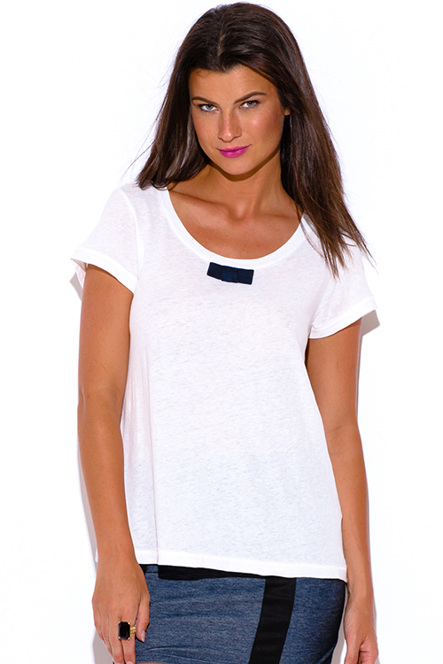 Cute cheap penny stock bright white bow tie linen preppy tee shirt boxy top