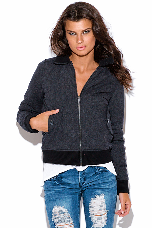 Cute cheap charcoal gray twill puff ribbed boyfiend bomber jacket