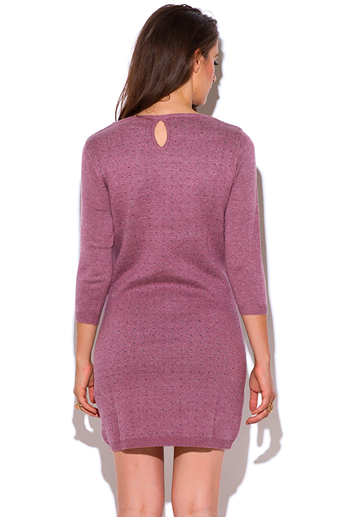 Cute cheap heather pink knit bow tie pocketed retro ribbed preppy sweater dress