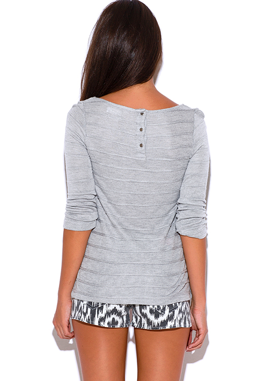 Cute cheap light gray ribbed button back long sleeve sweater top